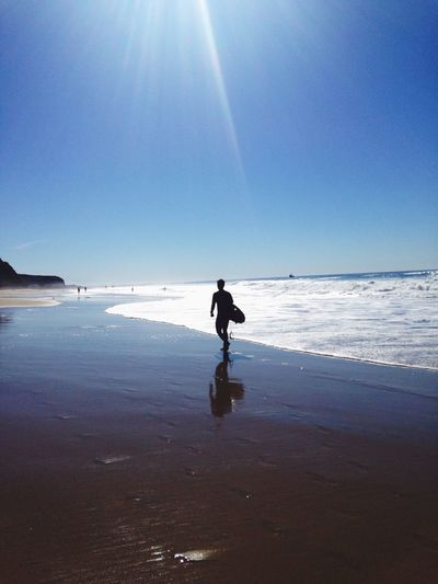Full Length Sea Real People One Person Horizon Over Water Clear Sky Sunlight Beach Lifestyles Leisure Activity Water Outdoors Nature Day Sky Beauty In Nature Scenics Men One Man Only People Surf California