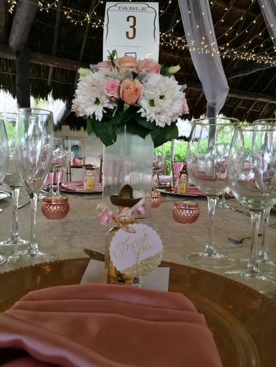 Centerpiece Wedding Napkin Floral Centerpiece Wedding Table Pink Table Number Riviera Maya Beach Wedding Colours Floral Arrangemet Weddingday  Mexican Wedding Outdoors Scenics Flower Head Wedding Reception