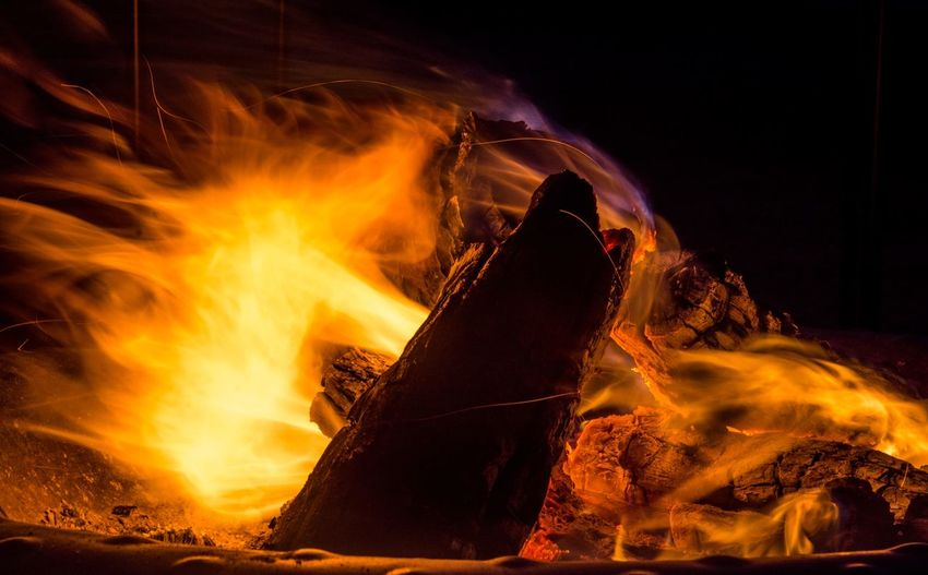 Fire Heat - Temperature Fire Burning Fire - Natural Phenomenon Motion Flame Night Orange Color Long Exposure Glowing Blurred Motion No People