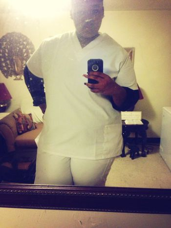 with my uniform on headed to class