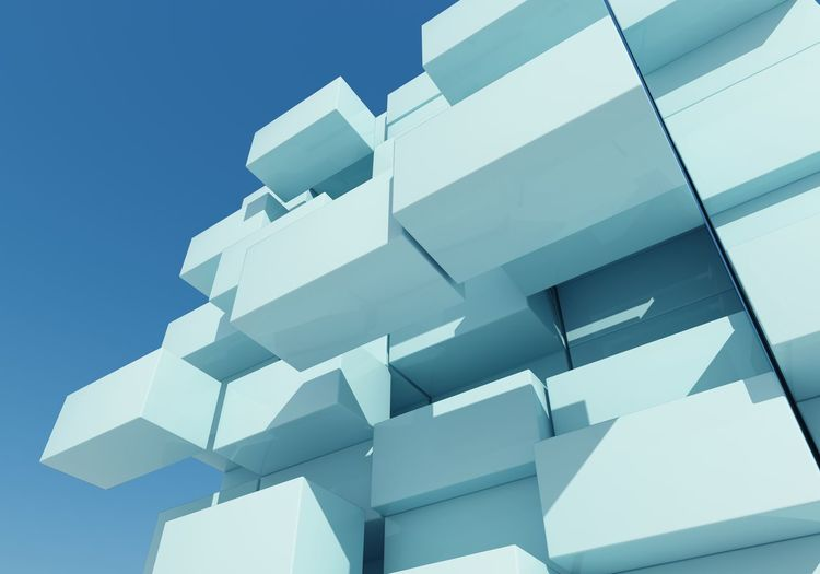 3D Abstract Architecture Blue Box Close-up Day Design Float Imagination No People Outdoors Sky