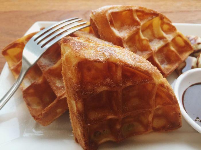 Extreme Close Up Of Waffles
