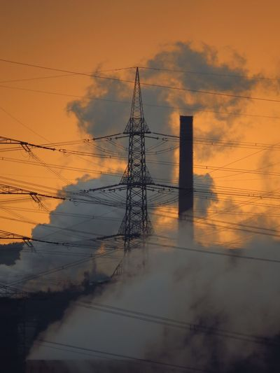 Cable Chimney Dramatic Dramatic Sky Electricity  Electricity Pylon Industrial Industrial Landscapes Ironman Landscape Orange Color Pivotal Ideas Power Cable Power Line  Power Pole Power Supply Powerhouse Powerlines Powerplant Pylon Sky Smoke Smokestack Sunset Up In Smoke
