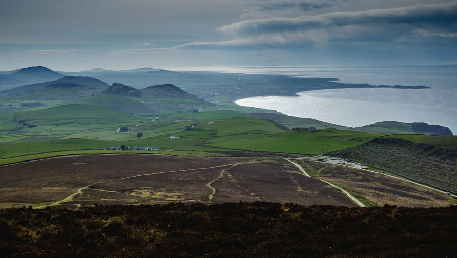 Agriculture Beauty In Nature Cloud - Sky Day Field Landscape Mountain Mountain Range Nature No People Outdoors Rural Scene Scenics Sky Tranquil Scene Tranquility Lleyn Peninsula North Wales Coast Tenebrio.photos Fuji-xe2s The Great Outdoors - 2017 EyeEm Awards