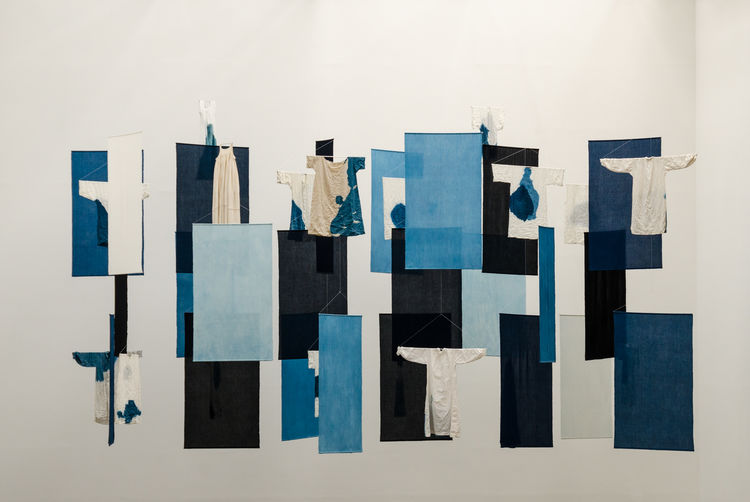 2017 Architecture Art Art Object Blue Close-up Cotton Day Documenta 14 Halle Hanging Indigo Indoors  Multi Colored No People Paper White Background