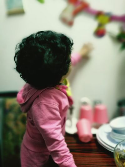 Millennial Pink Rear View Childhood Indoors  Indoorshot Child Photography Themes Playing Leisure Activity Smiling Lifestyles Innocence Happiness One Girl Only Winter Morning