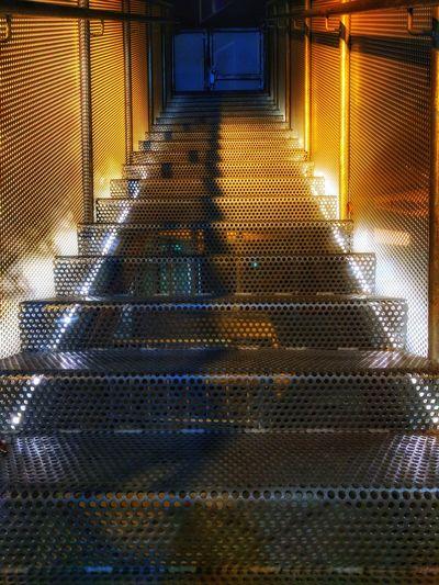 Steps in illuminated room