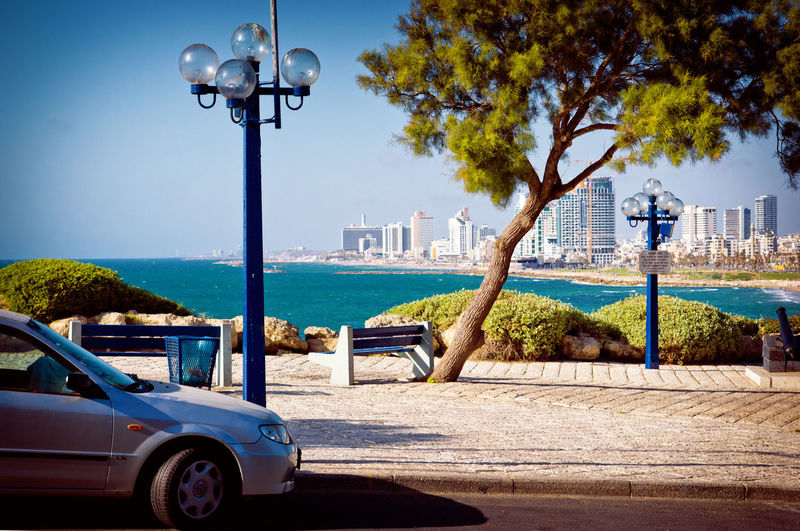 Tourism Travel Telaviv Telavivcity Jaffa Israel Sea Coast Beach Relaxing Transportation Street Clear Sky Scyscraper Scyscrapers City
