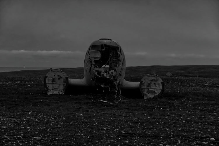 Plane Wreck at Solheimasandur Sky Cloud - Sky Land Nature Abandoned Beach No People Damaged Deterioration Obsolete Field Landscape Decline Old Outdoors Run-down Day Environment Water Ruined Plane Wreckage Plane Iceland Blackandwhite