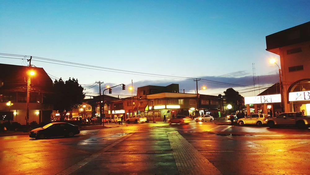 City Illuminated By Night Chile Castro Street City Life Traffic