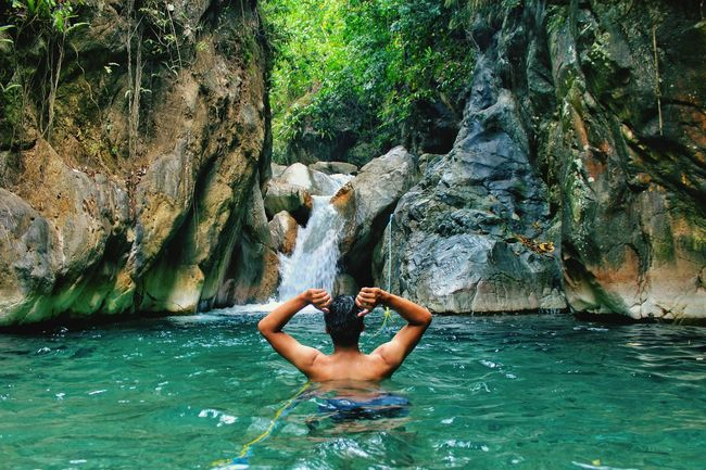 Water Real People One Person Shirtless Lifestyles Nature Leisure Activity Day Outdoors Beauty In Nature Young Adult Men Swimming Pool Tree Full Length Adult Adults Only Only Men Swimming One Man Only Waterfall Water Bogor - Indonesia Photography Human Body Part