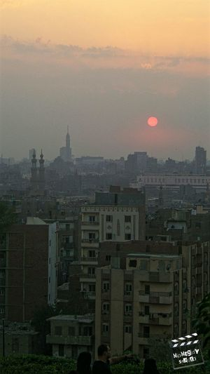 Sun Sunset Sky Clouds Trees Bushes Cairo Tower Old Cairo Mosque Landscape Cairo MoMagdyStudio