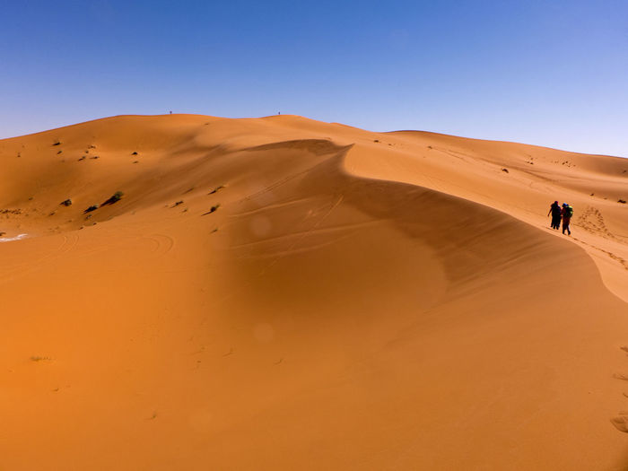 The Sahara Desert at its best. Fascinating desert landscape in the south of Morocco Erg Chebbi Morocco Sahara Land Sand Sand Dune Desert Climate Arid Climate Scenics - Nature Landscape Africa Pattern Merzouga Environment Clear Sky Extreme Terrain Outdoors Travel People Nature
