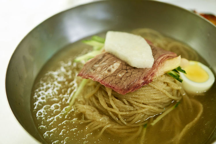 Close-Up Of Naengmyeon Served In Bowl