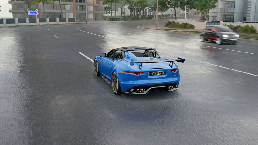 Jaguar F-Type Architecture Blurred Motion Bmw Built Structure Car City Day Driving Land Vehicle Luxury Mode Of Transportation Motion Motor Vehicle on the move Racecar Road Sign Speed Sports Race Street Transportation