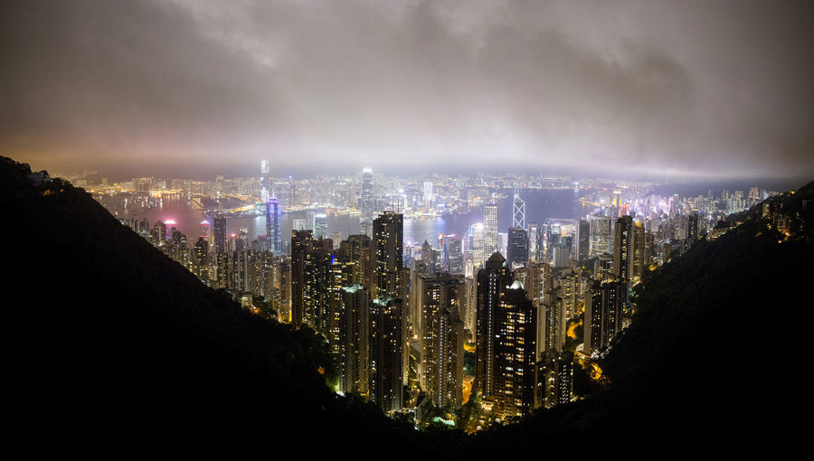 Hong Kong HongKong Aerial View Architecture Building Building Exterior City City Life Cityscape Cloud - Sky Development Financial District  Illuminated Landscape Modern Nature Night No People Office Building Exterior Outdoors Panoramic Sky Skyscraper Travel Destinations Urban Skyline