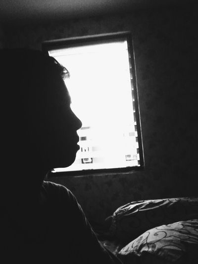 Black and white Day VSCO Blackandwhite Window Indoors  Side View Silhouette Looking Through Window Men Transparent Dark Day Solitude Contemplation Outline First Eyeem Photo
