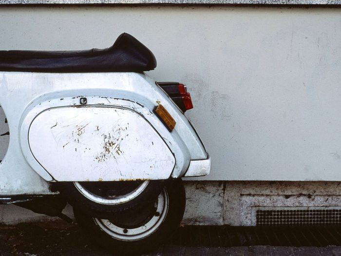 brrmmm brrrmmmmm . . . Capture Berlin Motor Scooter Film Photography 35mm Filmisnotdead Analogue Photography Backlight Blinker Close-up Day No People Outdoors Parking Part Of Rear Wheel Seat Bench Standing Traffic Vehicle White