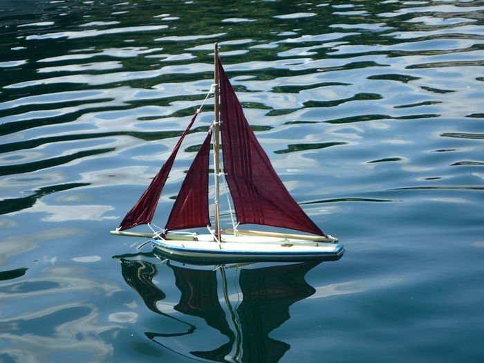 High angle view of sailboat in lake