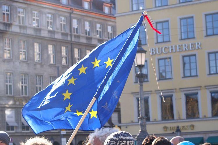 Pro EU demonstrators in Munich Eu Demonstration Protesters Europe European Union Political Rally Demo Munich Flag Patriotism Building Exterior Blue Architecture City Travel Destinations Waving Built Structure Outdoors Cultures Day No People Unity