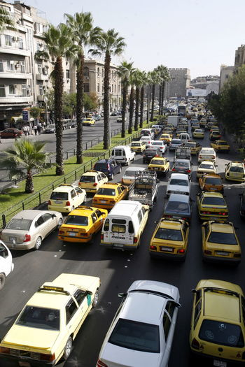 High angle view of vehicles on street during traffic
