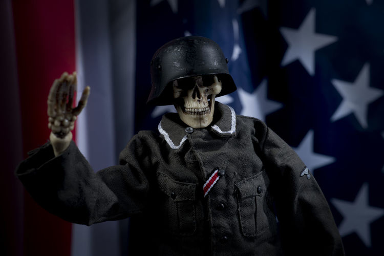 Close-up of skeleton in army uniform