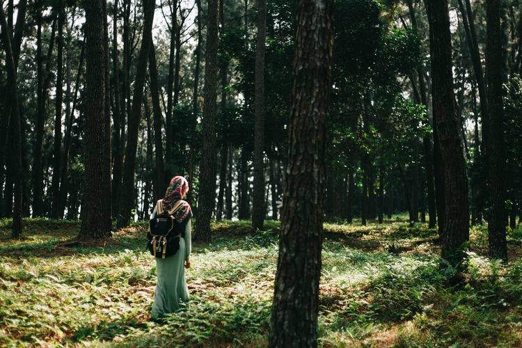 Young woman standing by tree in forest