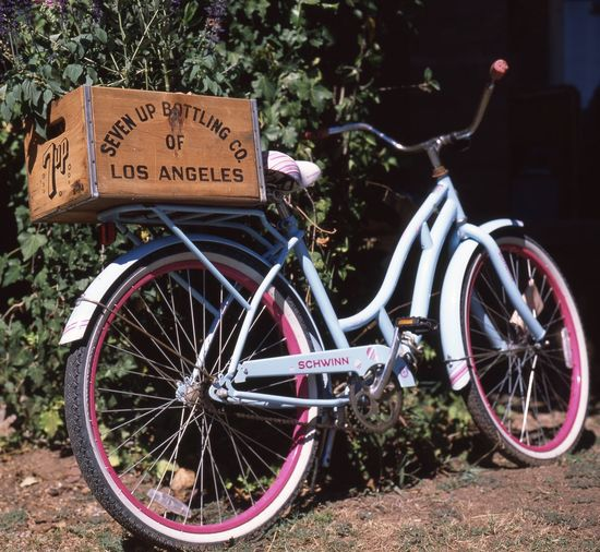 Vintage Bike Wooden Crate Vintage Bike Bike Pink Bicycle 7 Up Seven Up Vintage Bicycles Transportation Text Land Vehicle Mode Of Transportation Western Script Bicycle Communication Plant Wheel Outdoors Basket