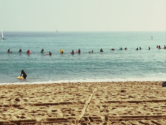Sea Beach Sand Surfing Barcelona Beauty Large Group Of People Outdoors EyeEmNewHere