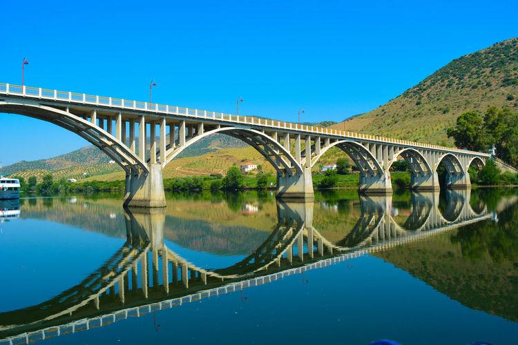 Bridge at Barca de Alva. Border between Portugal and Spain Bridge - Man Made Structure Calm Clear Sky Outdoors Reflection River Travel Destinations Water Surface