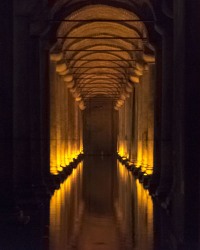 Istanbul Silhouette Turkey Arcade Arch Architectural Column Architecture Building Built Structure Ceiling Colonnade Corridor Diminishing Perspective Direction History Illuminated In A Row Indoors  Night No People Old Water Tank Reflection The Past The Way Forward Water