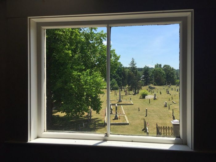 Sunlight Through The Window Window Light Through The Window Light And Shadow Interior Cemetery Blue Sky Bucolic Graves Old Cemetery New England  Summer Days Countryside Landscape Landscape Through Window
