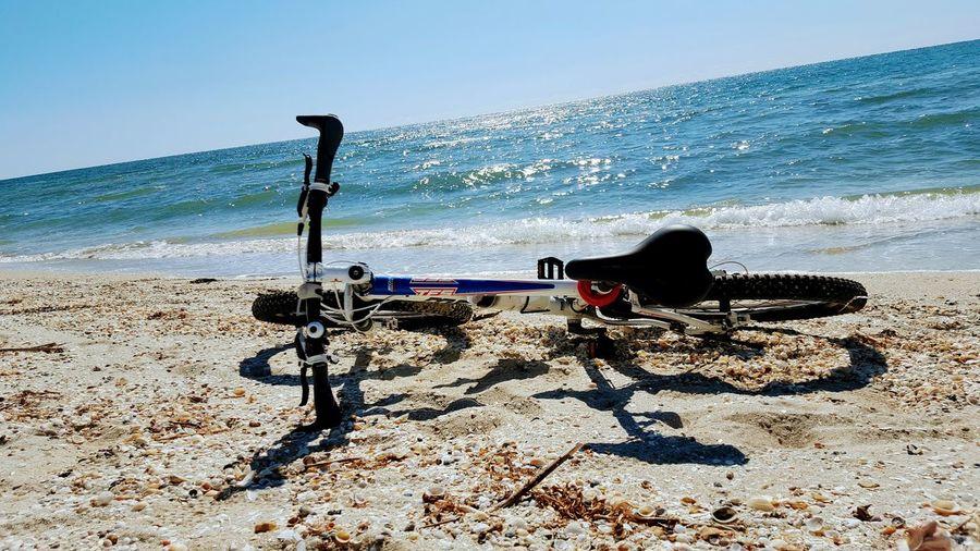 speachless Bike Bicycle Water Sea Beach Sand Wave Shadow Sky Horizon Over Water Shore Sandy Beach Calm Coastline