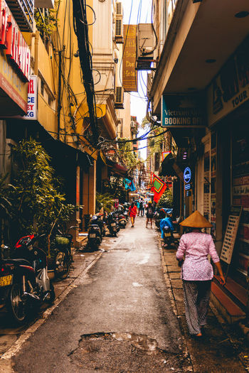 Alley in the centre of Hanoi in Vietnam Travel Vietnam Alley Building Exterior City Day Hanoi Outdoors Women