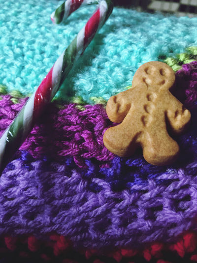High angle view of cookies and purple flowers