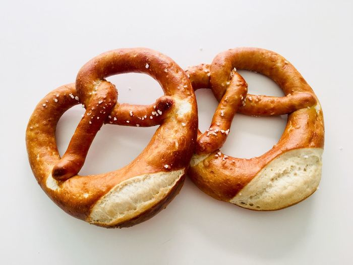 Brezen / Pretzels Delicious Bavaria Salt Food And Drink Food Pretzel Snack Still Life Freshness No People Indoors  Close-up High Angle View Bread Studio Shot Baked White Background Ready-to-eat German Food