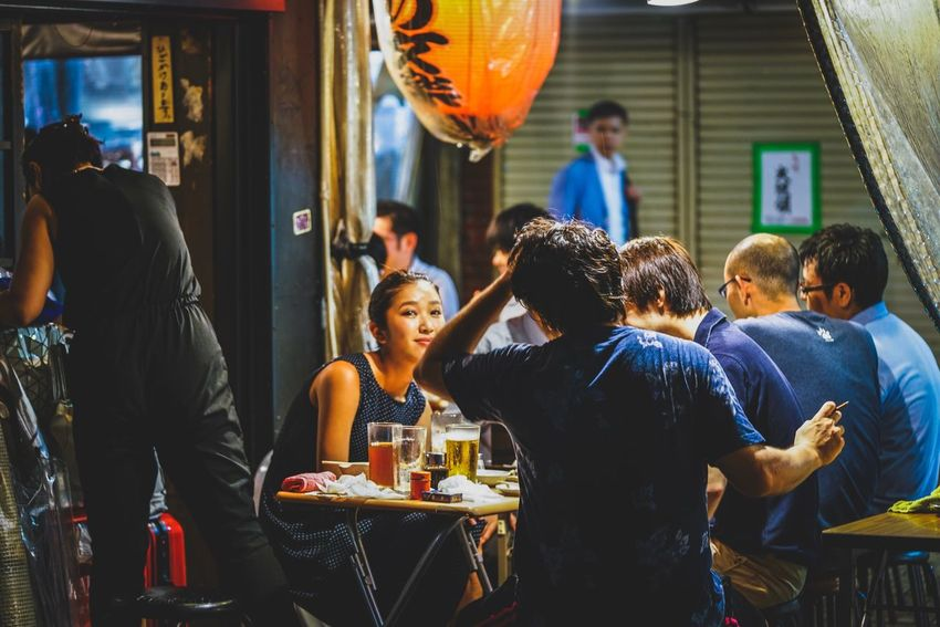 Japanese Style Street drinking bar Real People Food And Drink Large Group Of People Indoors  Food Togetherness Women Men Friendship Day People Japan Japanese Style Izakaya Discoverjapan Nightshooters Beautiful City Life Nightphography