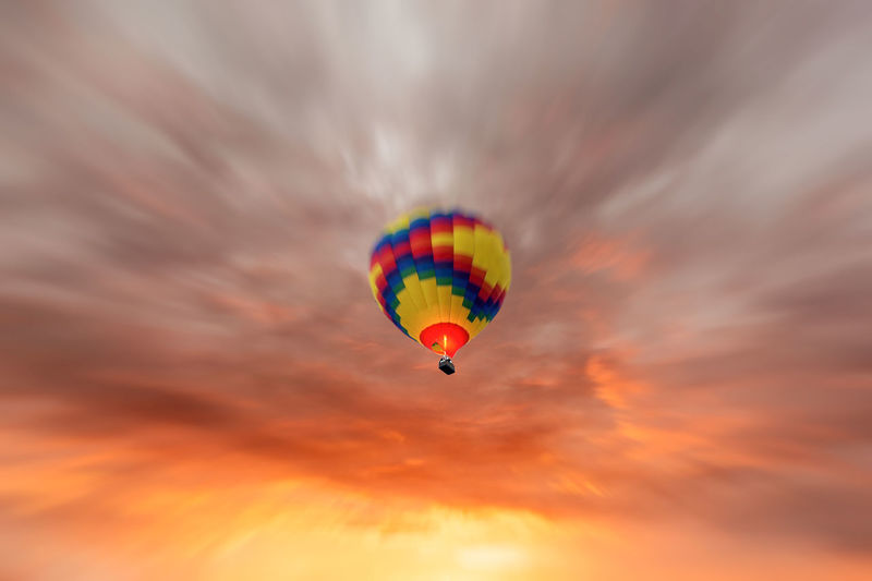 Adventure Day Flying Hot Air Balloon Low Angle View Multi Colored Outdoors Sky Transportation