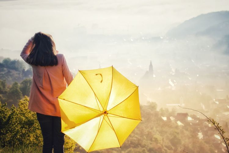 Rear view of woman with umbrella standing against land