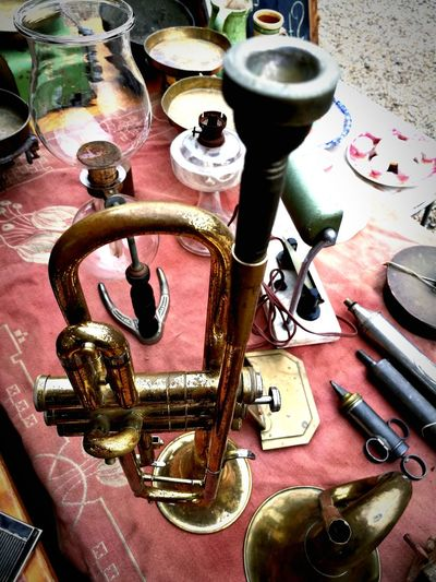 Old trumpet. Close-up No People Day Old-fashioned Hungary Low Angle View Outdoors Liliomkert Market Object Photography Travel Destinations Market Place History Arts Culture And Entertainment Metal Industry Musical Instruments Trumphet Trumpets