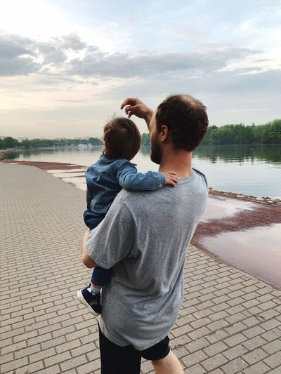 Son & dad Dad EyeEm Selects Water Two People Togetherness Men Love Bonding Adult Casual Clothing Sky Child Childhood Positive Emotion Real People Lifestyles Emotion Leisure Activity Beach Family Son Males