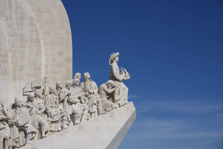 Padrão dos Descobrimentos at Belem, Lisbon, Portugal under a clear blue sky Lisbon Portugal Belém Padrão Dos Descobrimentos Sculpture Art And Craft Representation Statue Sky Creativity Human Representation Architecture Blue No People Built Structure Craft Day Male Likeness History The Past Memorial Low Angle View Nature Travel Destinations Stone Material Outdoors Angel