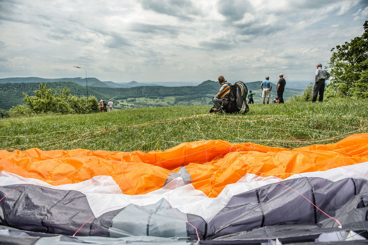 Burg Hohenneufen Cloud - Sky Day Field Journey Mountain Nature Outdoors Paragliding Person Relaxation Sky Southern Germany Summer Swabian Alb Tourism Tranquil Scene Tranquility Transportation Travel Travel Destinations Vacations