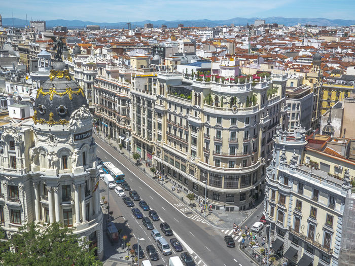 Gran via, Madrid. Aerial View Architecture Building Exterior Buildings Cenital View City Cityscape Gran Via Granviamadrid High Angle View Landscape Madrid No People Postal Sky SPAIN Street Tourism Travel Travelling Trip