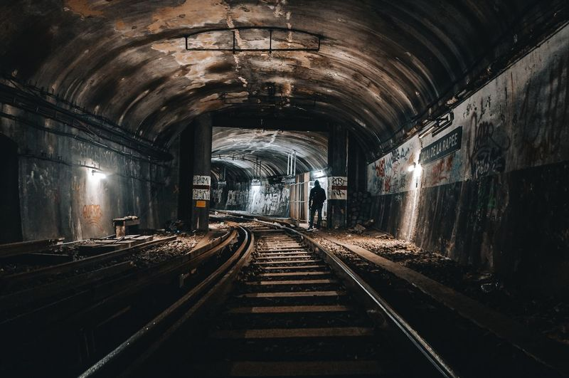 City guts Wide Angle Night Lights darkness and light Photooftheday Photography Exploring New Ground Exploring Metro Station Metro Indoors  Transportation Rail Transportation Railroad Track Real People Men The Way Forward Tunnel Illuminated One Person People