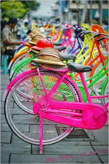 Transportation Bicycle Vertical Multi Colored Multi Colored Focus On Foreground Bicycle Transportation Stationary Outdoors Close-up No People Day Jakartastreetphotography Indonesia_photography Kotatuajakarta Sepedatua Komunitasfotografiindonesia First Eyeem Photo