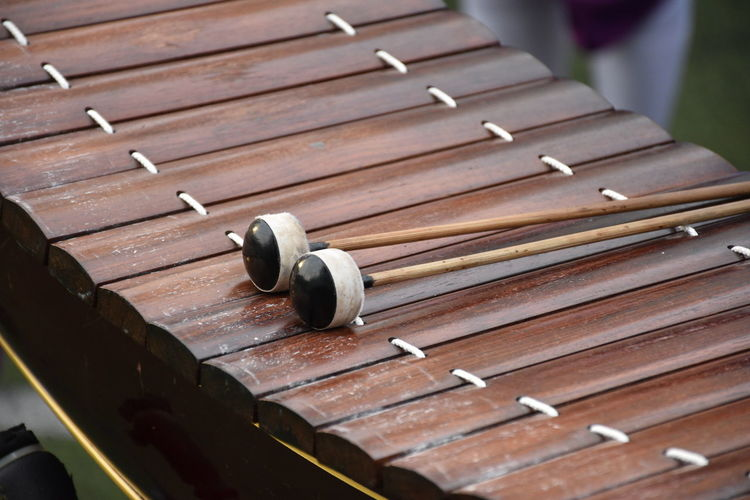 High angle view of xylophone