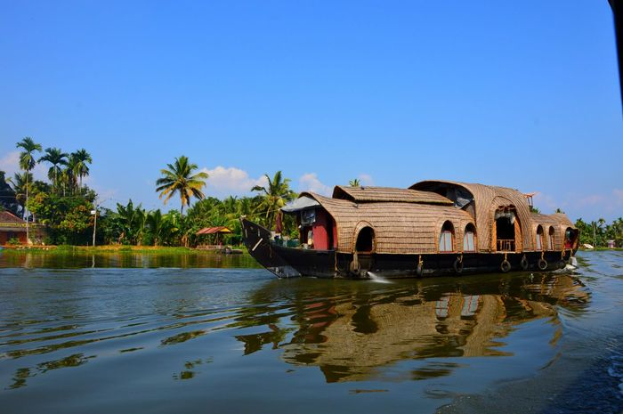 India Boat Clear Sky Houseboat Kerala Nature Outdoors Palm Tree River Travel Destinations Water