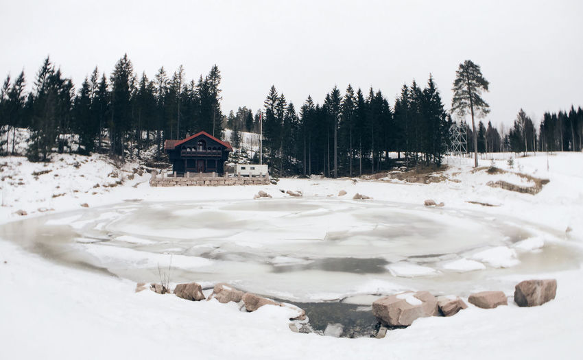 Cold Temperature Composition Frozen House Nature Norway Now Oslo Outdoors Snow Tranquil Scene Water Wide Angle Winter Trees Pond Colour Image Atmospheric The Great Outdoors - 2016 EyeEm Awards