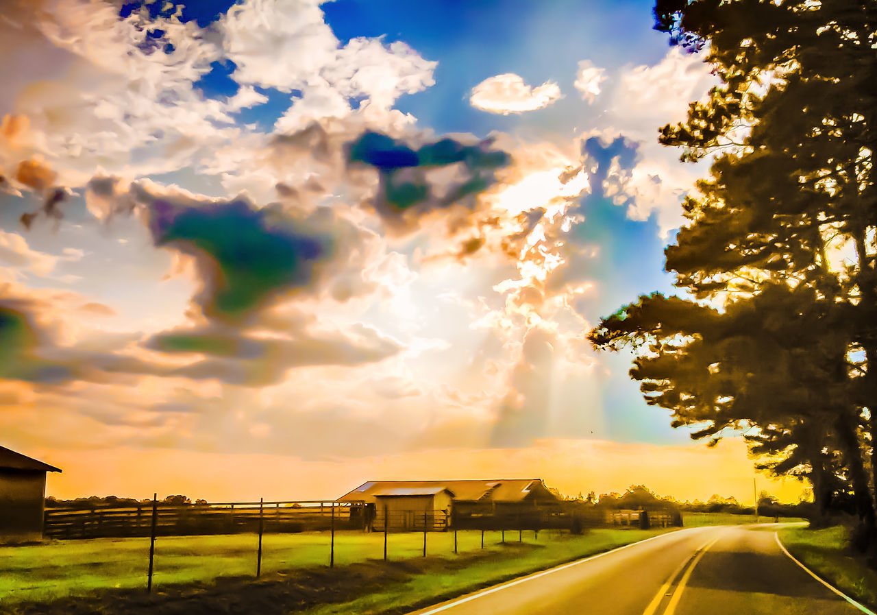 cloud - sky, sky, road, transportation, the way forward, no people, car, built structure, outdoors, nature, tree, scenics, sunset, day, architecture, beauty in nature